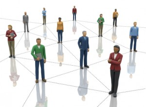 Figures representing business people standing on a triangular grid. Used in context of virtual branding, how do we all connect?